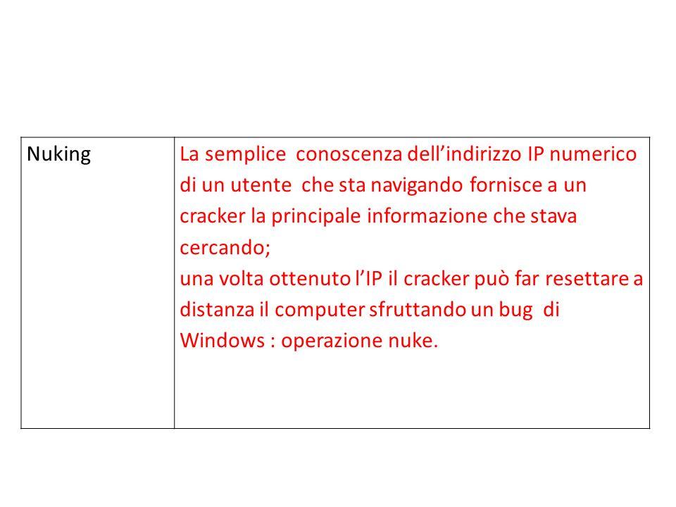 NukingLa semplice conoscenza dellindirizzo IP numerico di un utente che sta navigando fornisce a un cracker la principale informazione che stava cercando; una volta ottenuto lIP il cracker può far resettare a distanza il computer sfruttando un bug di Windows : operazione nuke.