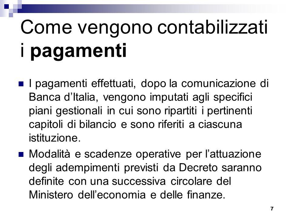 7 Come vengono contabilizzati i pagamenti I pagamenti effettuati, dopo la comunicazione di Banca dItalia, vengono imputati agli specifici piani gestionali in cui sono ripartiti i pertinenti capitoli di bilancio e sono riferiti a ciascuna istituzione.