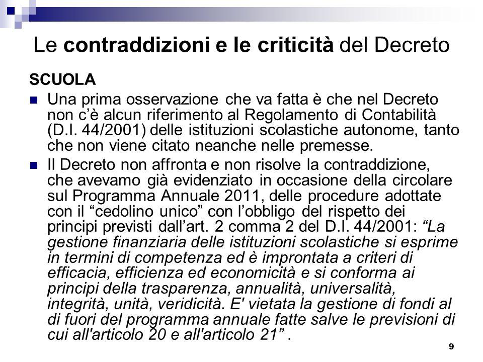 9 Le contraddizioni e le criticità del Decreto SCUOLA Una prima osservazione che va fatta è che nel Decreto non cè alcun riferimento al Regolamento di Contabilità (D.I.