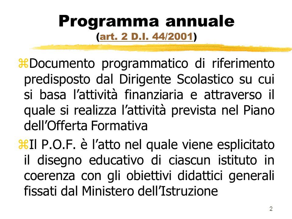 2 Programma annuale (art. 2 D.I. 44/2001)art. 2 D.I. 44/2001 z Documento programmatico di riferimento predisposto dal Dirigente Scolastico su cui si b