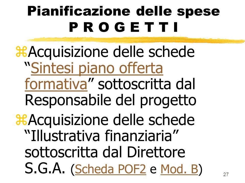27 Pianificazione delle spese P R O G E T T I zAcquisizione delle schedeSintesi piano offerta formativa sottoscritta dal Responsabile del progettoSint