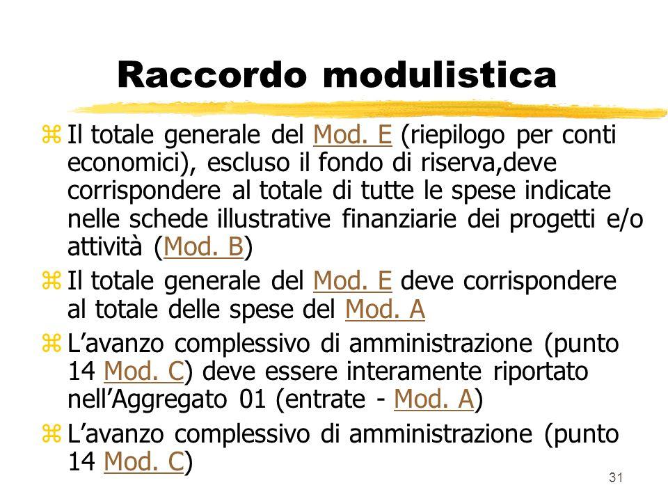 31 Raccordo modulistica z Il totale generale del Mod. E (riepilogo per conti economici), escluso il fondo di riserva,deve corrispondere al totale di t