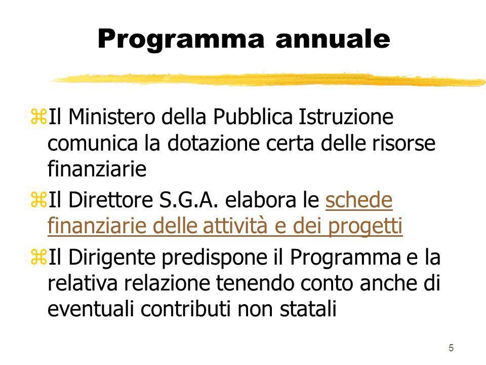 5 Programma annuale zIl Ministero della Pubblica Istruzione comunica la dotazione certa delle risorse finanziarie zIl Direttore S.G.A. elabora le sche