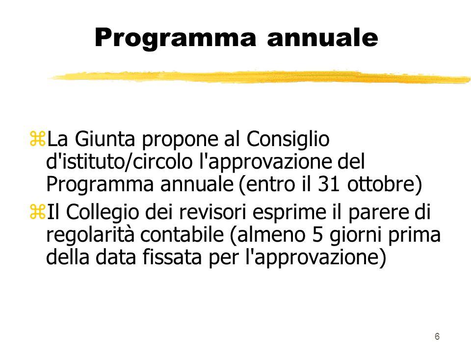 6 Programma annuale zLa Giunta propone al Consiglio d'istituto/circolo l'approvazione del Programma annuale (entro il 31 ottobre) zIl Collegio dei rev
