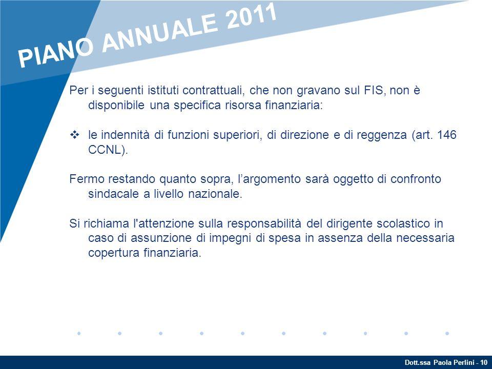 Dott.ssa Paola Perlini - 10 Per i seguenti istituti contrattuali, che non gravano sul FIS, non è disponibile una specifica risorsa finanziaria: le ind