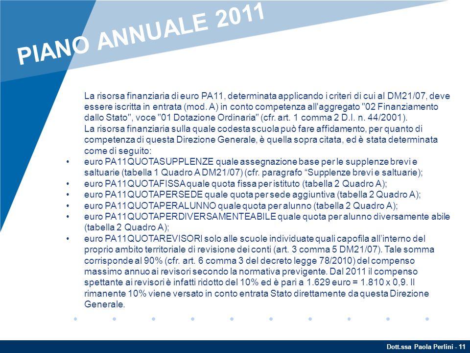 Dott.ssa Paola Perlini - 11 ENTRATE La risorsa finanziaria di euro PA11, determinata applicando i criteri di cui al DM21/07, deve essere iscritta in e