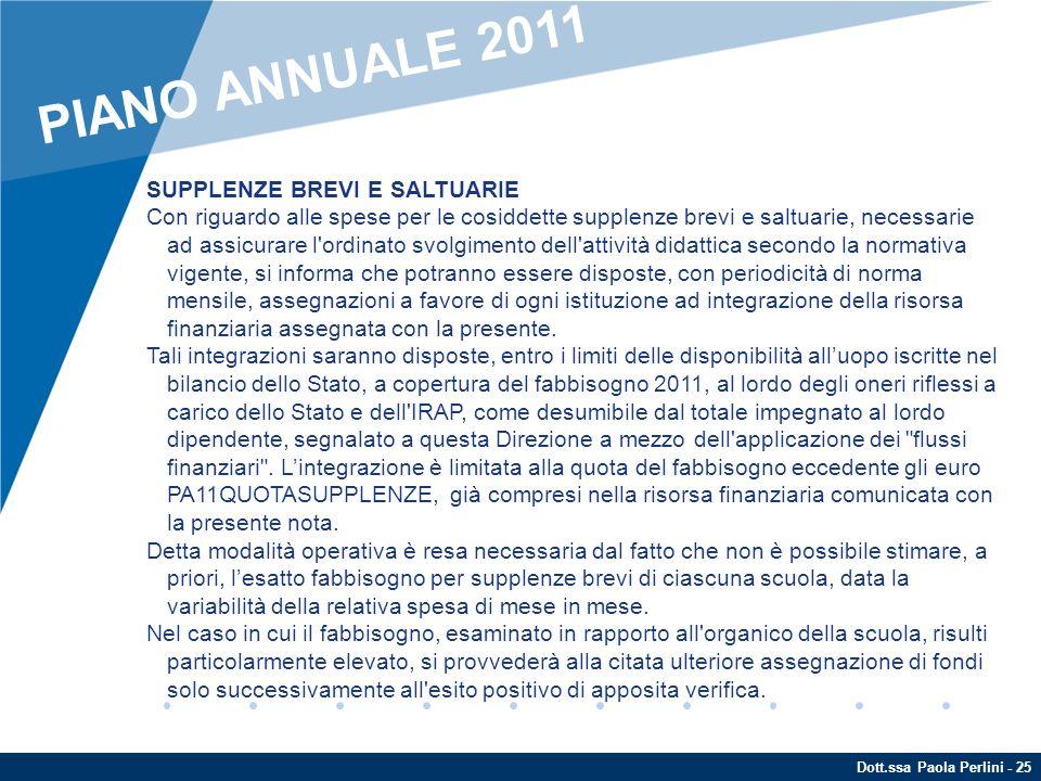 Dott.ssa Paola Perlini - 25 SUPPLENZE BREVI E SALTUARIE Con riguardo alle spese per le cosiddette supplenze brevi e saltuarie, necessarie ad assicurar