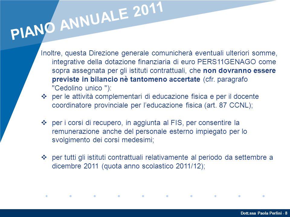 Dott.ssa Paola Perlini - 19 A tal fine, è fondamentale che nel programma annuale non si inseriscano attività che non si è ragionevolmente sicuri di poter realizzare anche finanziariamente (principi della trasparenza e della veridicità del programma annuale - art.