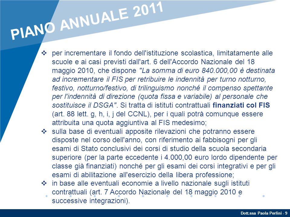 Dott.ssa Paola Perlini - 10 Per i seguenti istituti contrattuali, che non gravano sul FIS, non è disponibile una specifica risorsa finanziaria: le indennità di funzioni superiori, di direzione e di reggenza (art.