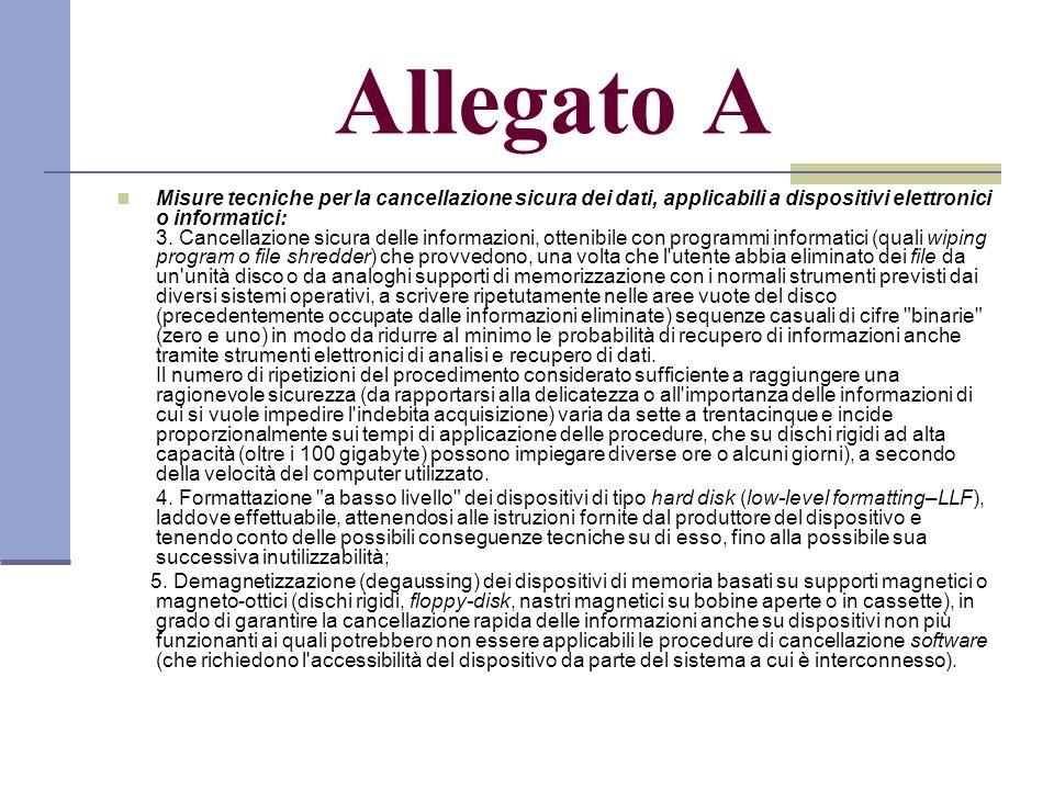 Allegato A Misure tecniche per la cancellazione sicura dei dati, applicabili a dispositivi elettronici o informatici: 3.
