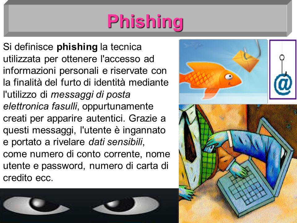 Phishing Si definisce phishing la tecnica utilizzata per ottenere l'accesso ad informazioni personali e riservate con la finalità del furto di identit