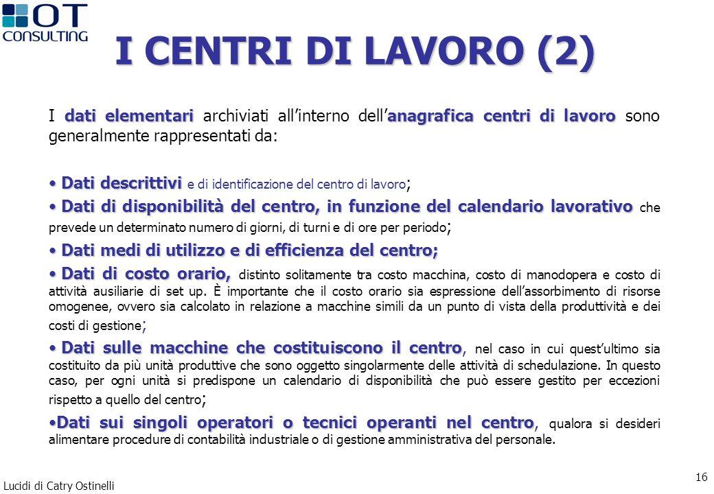Lucidi di Catry Ostinelli 16 I CENTRI DI LAVORO (2) dati elementarianagraficacentri di lavoro I dati elementari archiviati allinterno dellanagrafica c