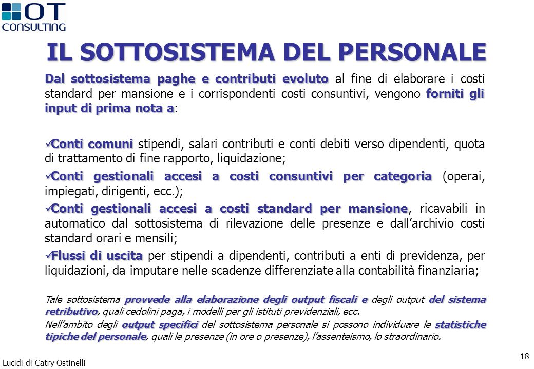 Lucidi di Catry Ostinelli 18 IL SOTTOSISTEMA DEL PERSONALE Dal sottosistema paghe e contributi evoluto forniti gli input di prima nota a Dal sottosist