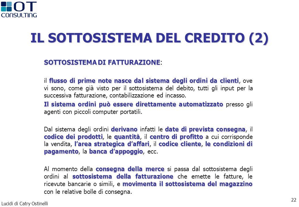 Lucidi di Catry Ostinelli 22 IL SOTTOSISTEMA DEL CREDITO (2) SOTTOSISTEMA DI FATTURAZIONE SOTTOSISTEMA DI FATTURAZIONE: flusso di prime note nasce dal