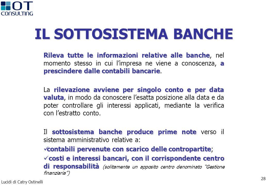 Lucidi di Catry Ostinelli 28 IL SOTTOSISTEMA BANCHE Rileva tutte le informazioni relative alle banche a prescindere dalle contabili bancarie Rileva tu