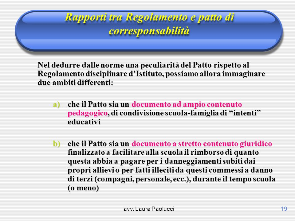 avv. Laura Paolucci19 Rapporti tra Regolamento e patto di corresponsabilità Nel dedurre dalle norme una peculiarità del Patto rispetto al Regolamento