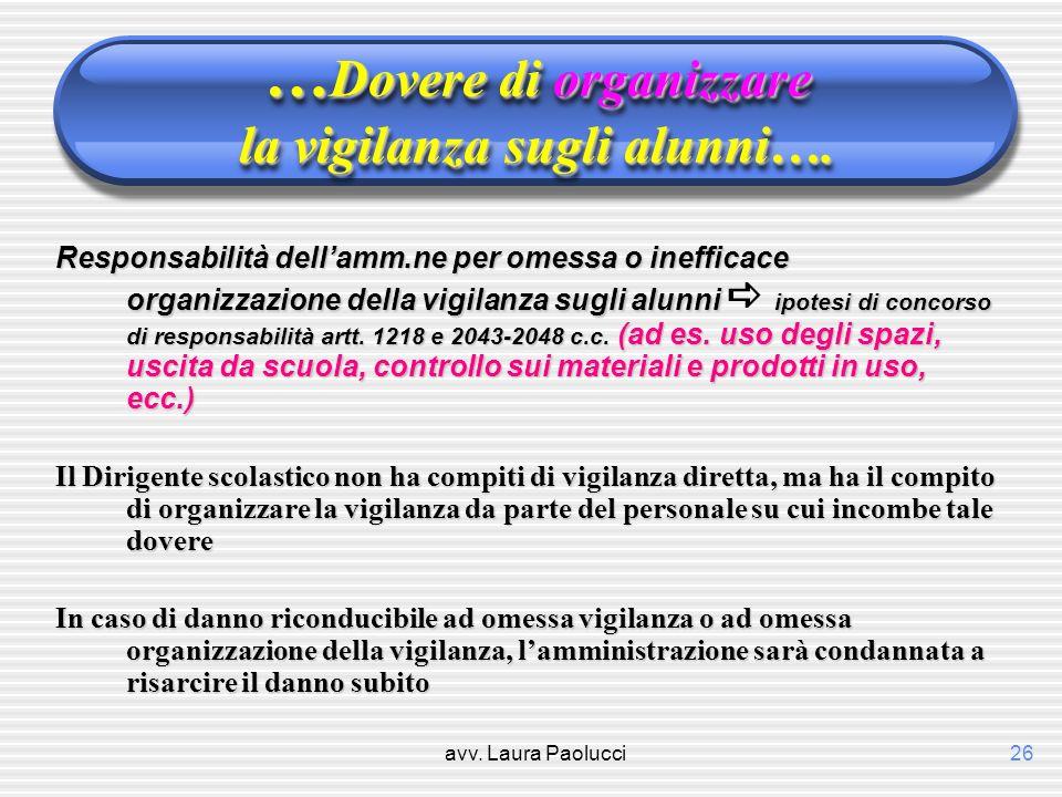avv. Laura Paolucci26 … Dovere di organizzare la vigilanza sugli alunni…. Responsabilità dellamm.ne per omessa o inefficace organizzazione della vigil