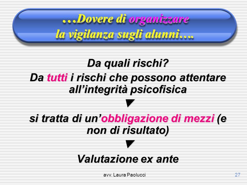avv.Laura Paolucci27 … Dovere di organizzare la vigilanza sugli alunni….