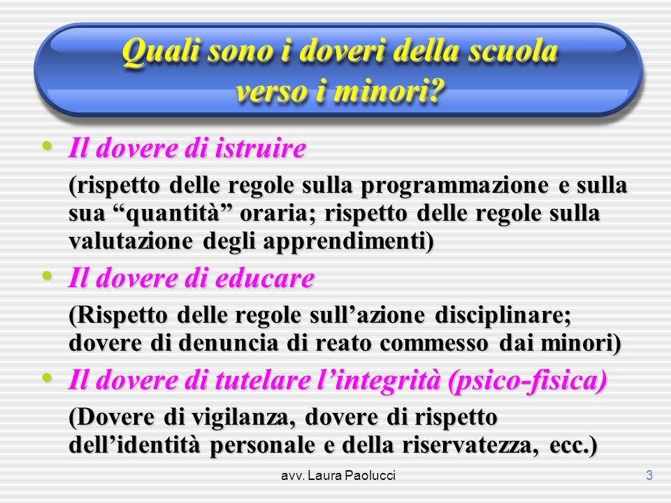 avv. Laura Paolucci3 Quali sono i doveri della scuola verso i minori? Il dovere di istruire Il dovere di istruire (rispetto delle regole sulla program