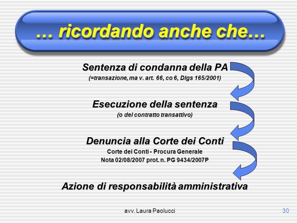 avv. Laura Paolucci30 … ricordando anche che… Sentenza di condanna della PA (=transazione, ma v. art. 66, co 6, Dlgs 165/2001) Esecuzione della senten