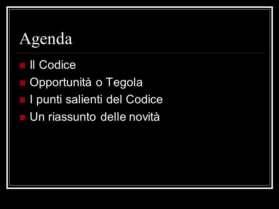 Agenda Il Codice Opportunità o Tegola I punti salienti del Codice Un riassunto delle novità
