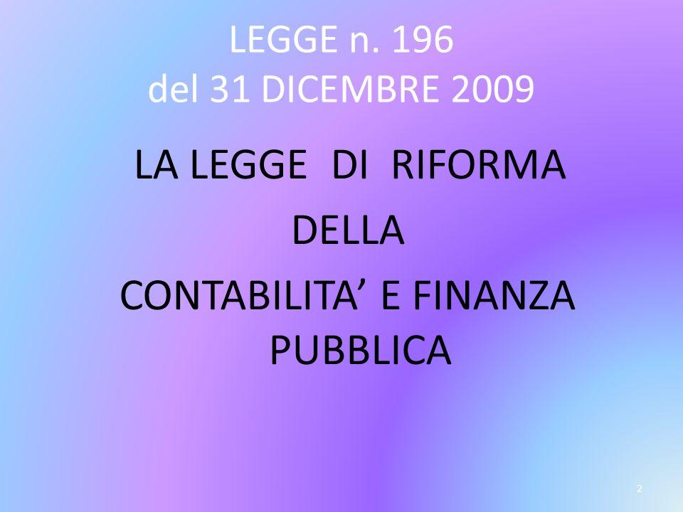 LEGGE n. 196 del 31 DICEMBRE 2009 LA LEGGE DI RIFORMA DELLA CONTABILITA E FINANZA PUBBLICA 2