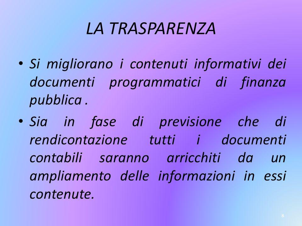 8 LA TRASPARENZA Si migliorano i contenuti informativi dei documenti programmatici di finanza pubblica.