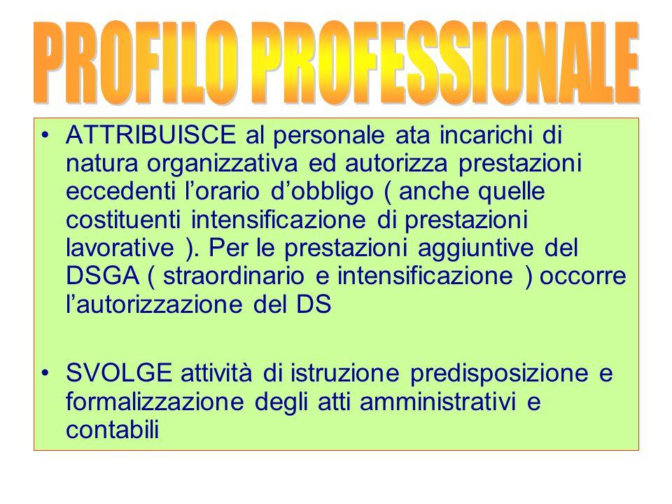 ATTRIBUISCE al personale ata incarichi di natura organizzativa ed autorizza prestazioni eccedenti lorario dobbligo ( anche quelle costituenti intensificazione di prestazioni lavorative ).