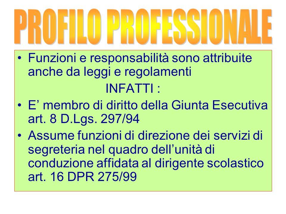 Funzioni e responsabilità sono attribuite anche da leggi e regolamenti INFATTI : E membro di diritto della Giunta Esecutiva art.