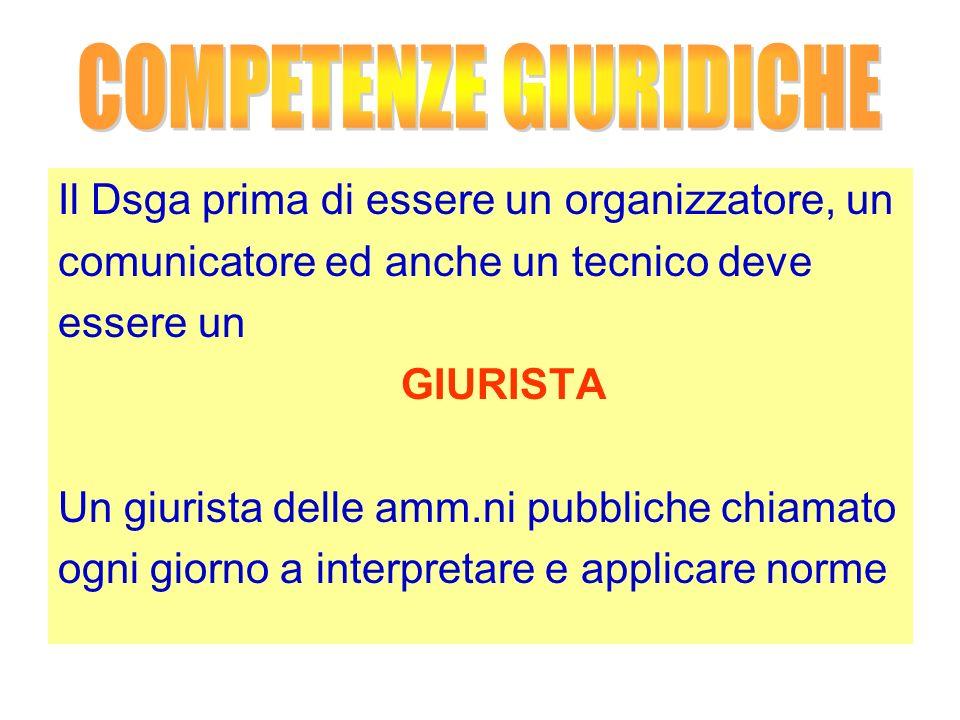 Il Dsga prima di essere un organizzatore, un comunicatore ed anche un tecnico deve essere un GIURISTA Un giurista delle amm.ni pubbliche chiamato ogni giorno a interpretare e applicare norme