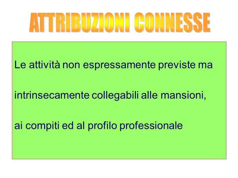 Le attività non espressamente previste ma intrinsecamente collegabili alle mansioni, ai compiti ed al profilo professionale