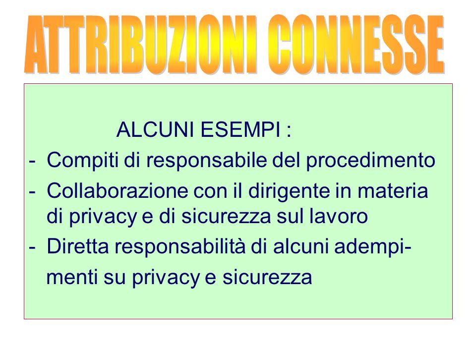 ALCUNI ESEMPI : -Compiti di responsabile del procedimento -Collaborazione con il dirigente in materia di privacy e di sicurezza sul lavoro -Diretta responsabilità di alcuni adempi- menti su privacy e sicurezza