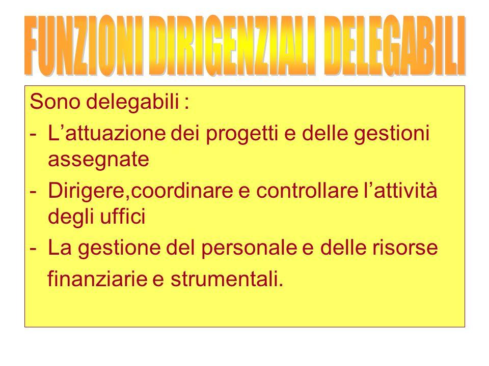 Sono delegabili : -Lattuazione dei progetti e delle gestioni assegnate -Dirigere,coordinare e controllare lattività degli uffici -La gestione del personale e delle risorse finanziarie e strumentali.