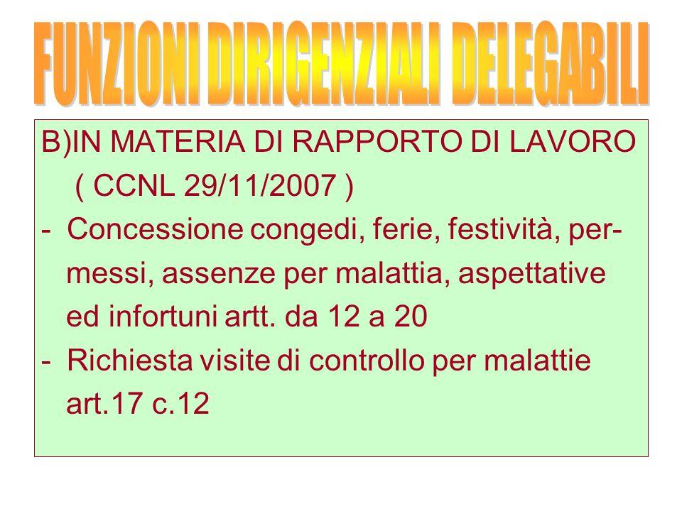 B)IN MATERIA DI RAPPORTO DI LAVORO ( CCNL 29/11/2007 ) -Concessione congedi, ferie, festività, per- messi, assenze per malattia, aspettative ed infortuni artt.