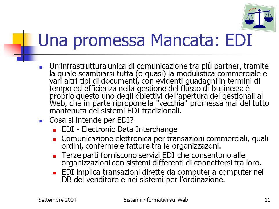 Settembre 2004Sistemi informativi sul Web11 Una promessa Mancata: EDI Uninfrastruttura unica di comunicazione tra più partner, tramite la quale scambi