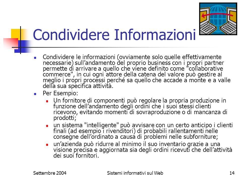 Settembre 2004Sistemi informativi sul Web14 Condividere Informazioni Condividere le informazioni (ovviamente solo quelle effettivamente necessarie) su