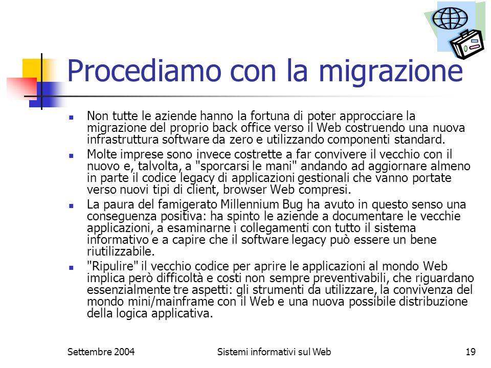 Settembre 2004Sistemi informativi sul Web19 Procediamo con la migrazione Non tutte le aziende hanno la fortuna di poter approcciare la migrazione del
