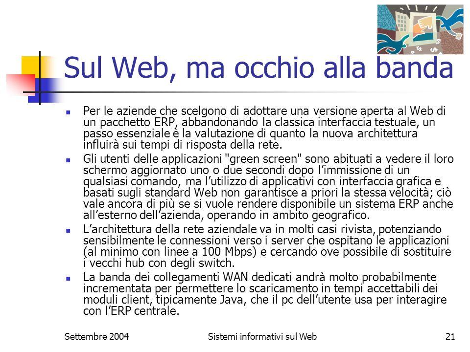 Settembre 2004Sistemi informativi sul Web21 Sul Web, ma occhio alla banda Per le aziende che scelgono di adottare una versione aperta al Web di un pac