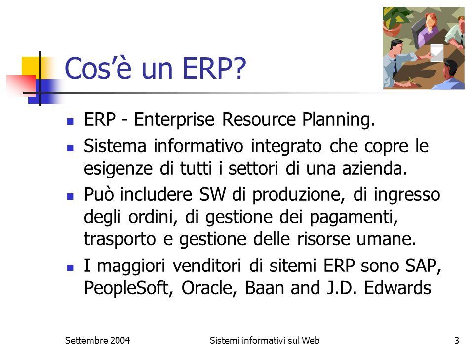 Settembre 2004Sistemi informativi sul Web3 Cosè un ERP? ERP - Enterprise Resource Planning. Sistema informativo integrato che copre le esigenze di tut