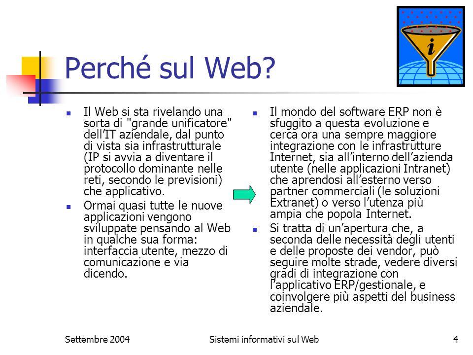 Settembre 2004Sistemi informativi sul Web4 Perché sul Web? Il Web si sta rivelando una sorta di