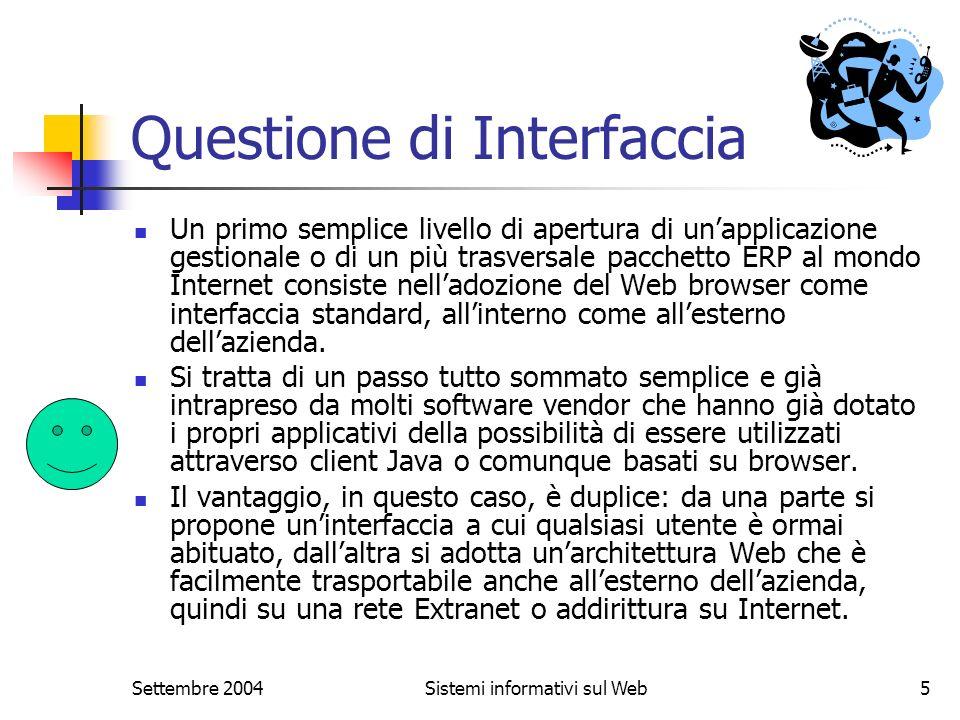Settembre 2004Sistemi informativi sul Web5 Questione di Interfaccia Un primo semplice livello di apertura di unapplicazione gestionale o di un più tra