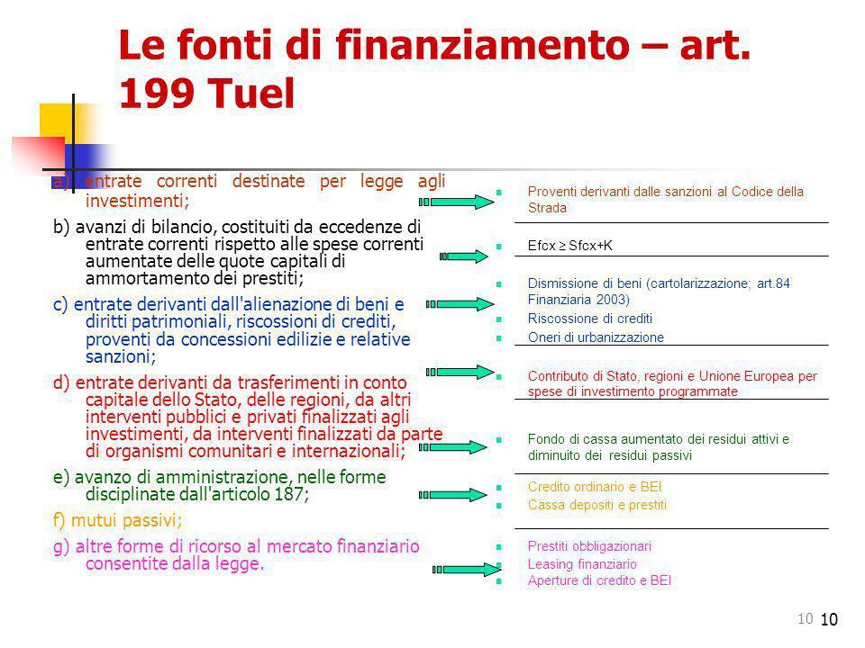 10 Le fonti di finanziamento – art. 199 Tuel a) entrate correnti destinate per legge agli investimenti; b) avanzi di bilancio, costituiti da eccedenze