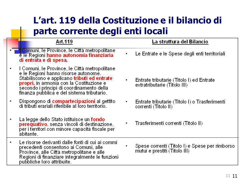 11 Lart. 119 della Costituzione e il bilancio di parte corrente degli enti locali