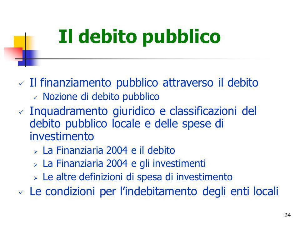 24 Il debito pubblico Il finanziamento pubblico attraverso il debito Nozione di debito pubblico Inquadramento giuridico e classificazioni del debito p