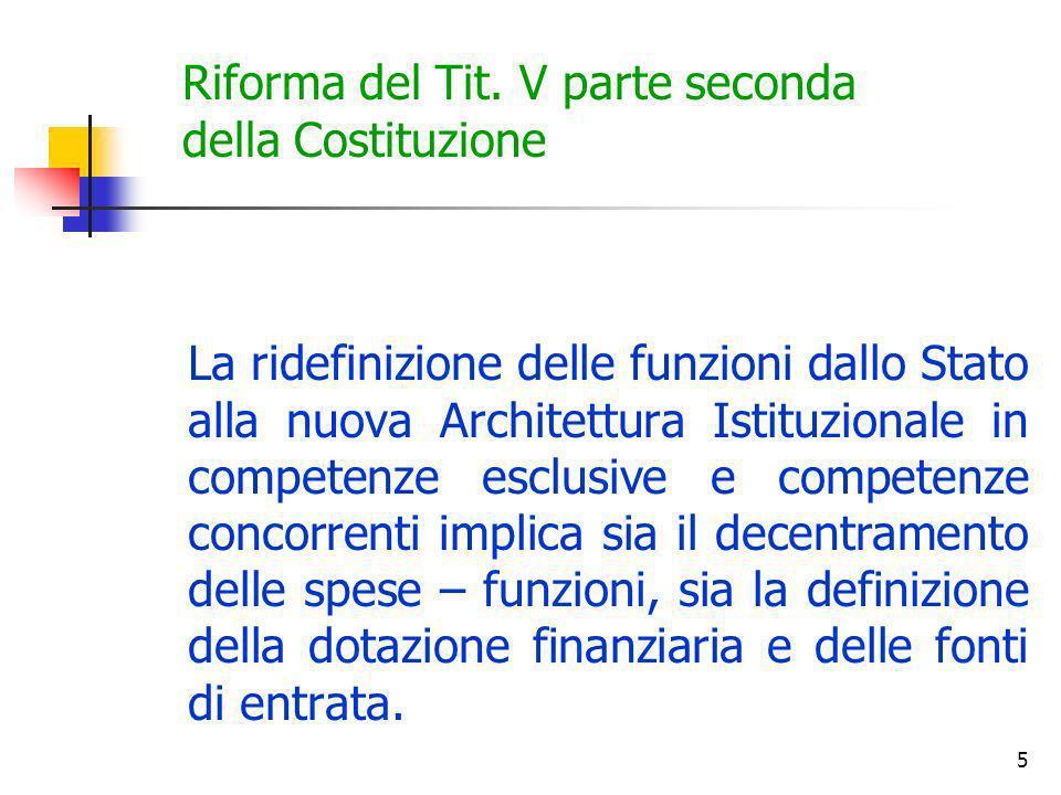 5 Riforma del Tit. V parte seconda della Costituzione La ridefinizione delle funzioni dallo Stato alla nuova Architettura Istituzionale in competenze