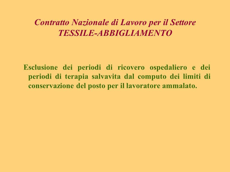 Contratto Nazionale di Lavoro per il Settore TESSILE-ABBIGLIAMENTO Esclusione dei periodi di ricovero ospedaliero e dei periodi di terapia salvavita d