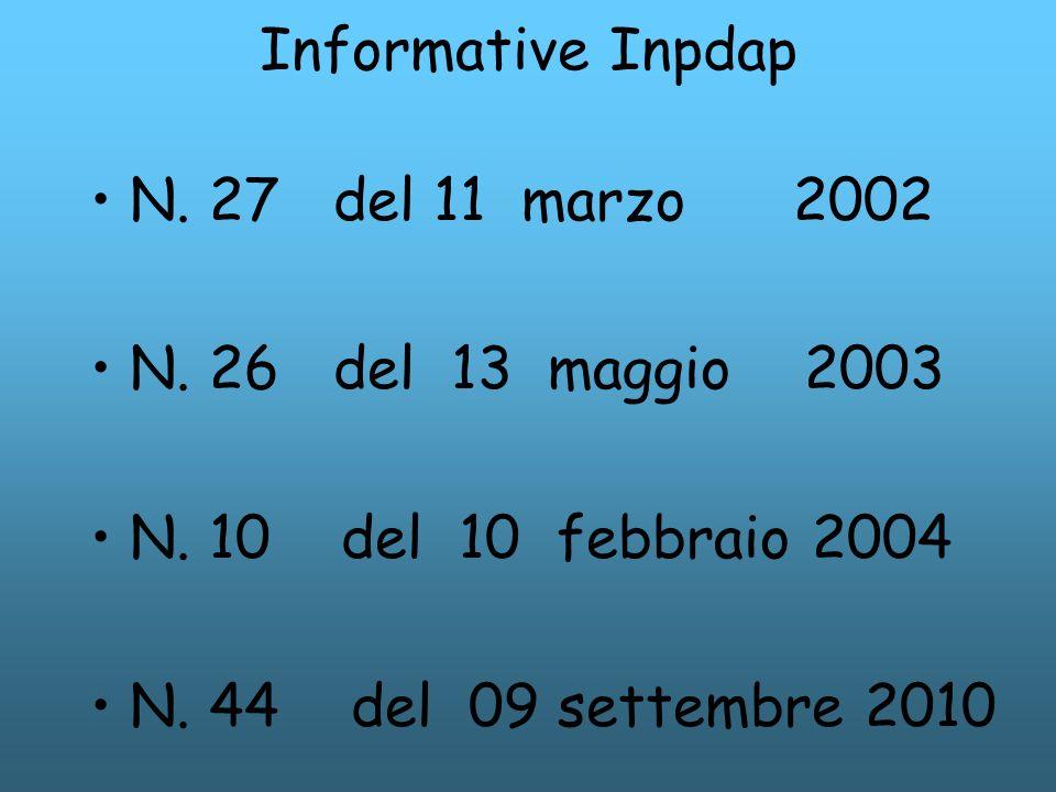 Informative Inpdap N. 27 del 11 marzo 2002 N. 26 del 13 maggio 2003 N. 10 del 10 febbraio 2004 N. 44 del 09 settembre 2010