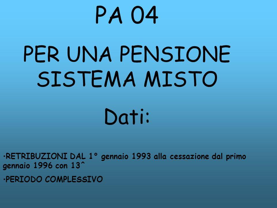 PA 04 PER UNA PENSIONE SISTEMA MISTO Dati: RETRIBUZIONI DAL 1° gennaio 1993 alla cessazione dal primo gennaio 1996 con 13^ PERIODO COMPLESSIVO
