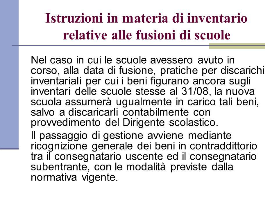 Istruzioni in materia di inventario relative alle fusioni di scuole Nel caso in cui le scuole avessero avuto in corso, alla data di fusione, pratiche