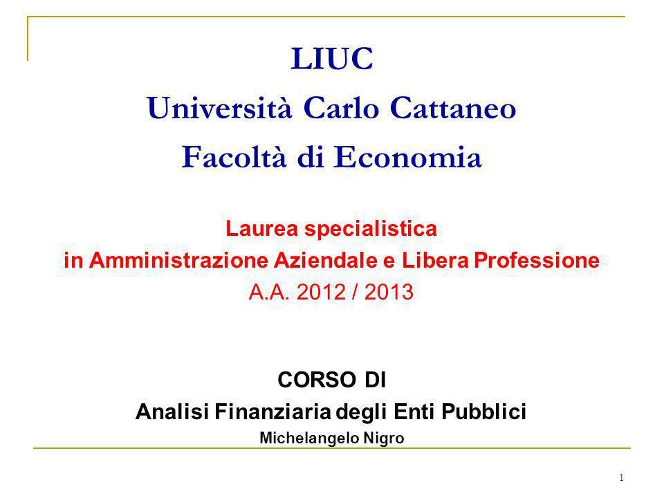 1 LIUC Università Carlo Cattaneo Facoltà di Economia Laurea specialistica in Amministrazione Aziendale e Libera Professione A.A. 2012 / 2013 CORSO DI
